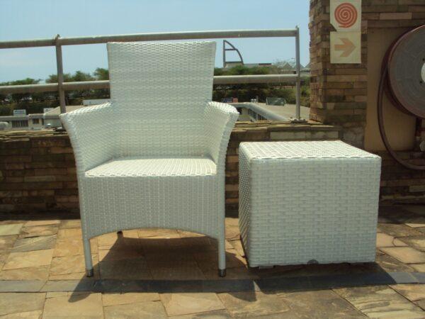 White ottoman and arm arm chair