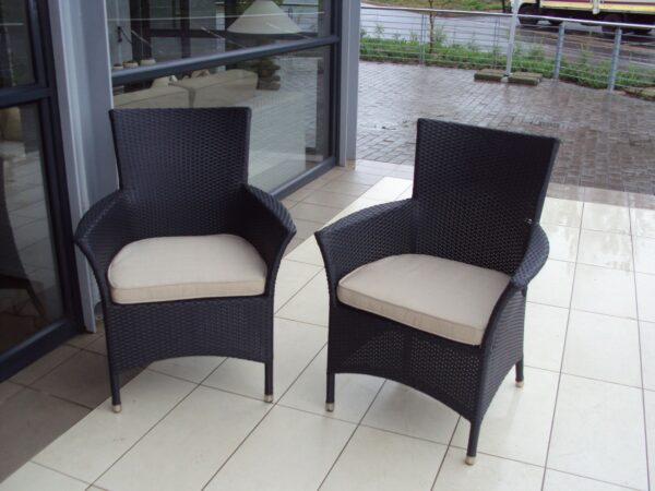 All weather outdoor arm chairs.