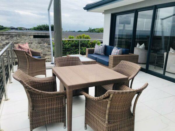 Malindi table fully weaved and Makuti chairs coffee cream