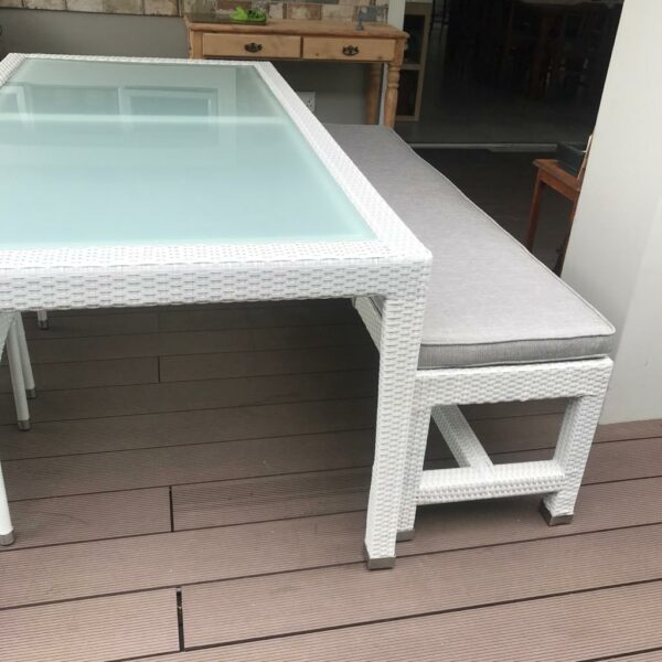 Patio dining table and bench