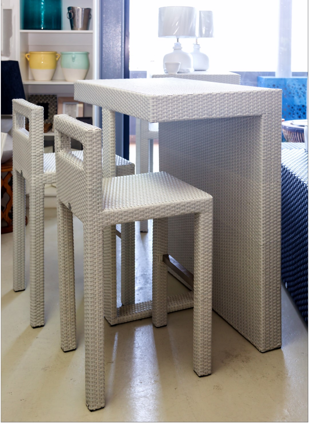 Mirage outdoor bar stools and table